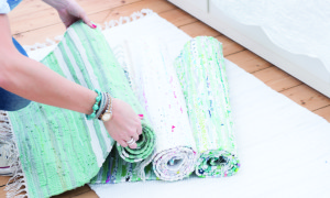 green rag rug