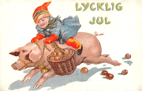 swedish christmas pig card