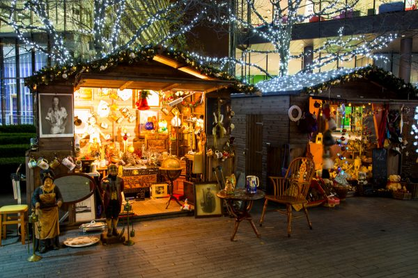 London bridge christmas market at night