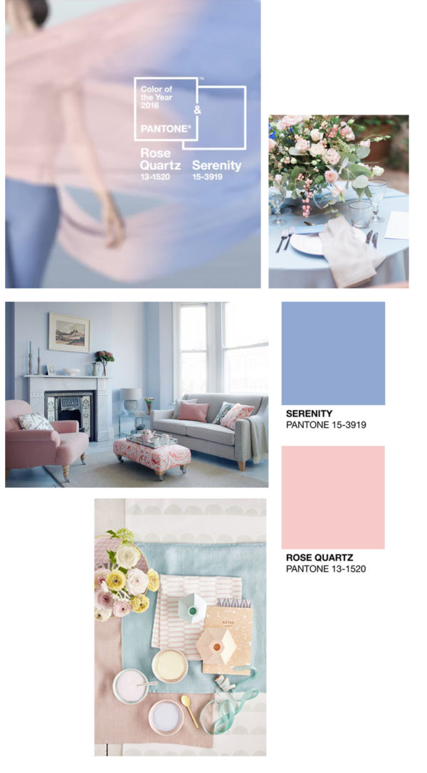 pantone colours of the year, rose quartz and serenity
