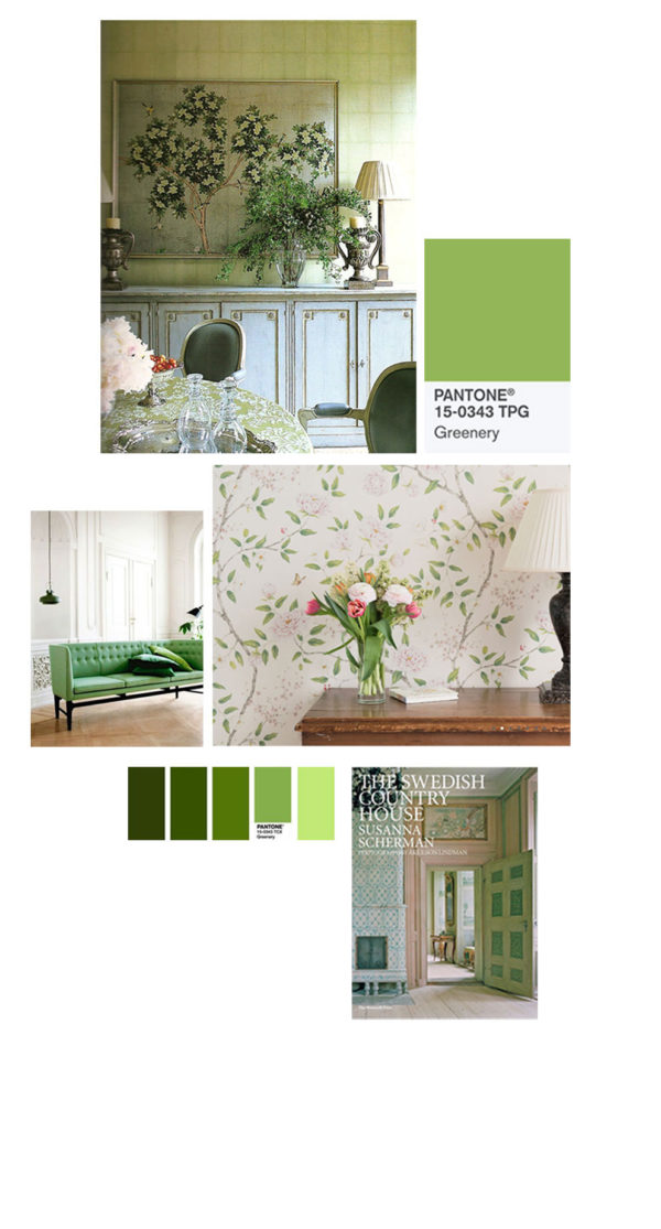 pantone colour of the year 2017 and gustavian style green interiors moodboard