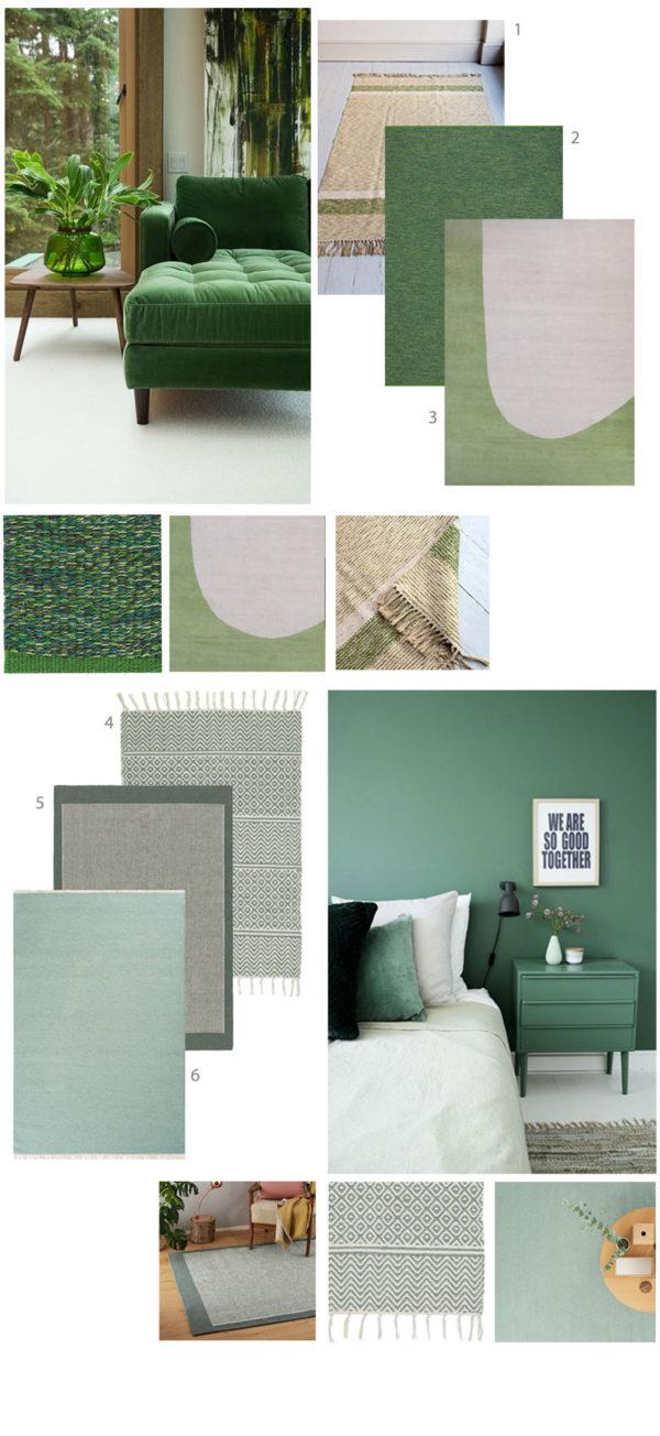 moodboard - scandi green rugs for interior inspiration via skandihome