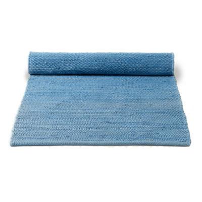 Plain Blue Washable Cotton Rag Rug