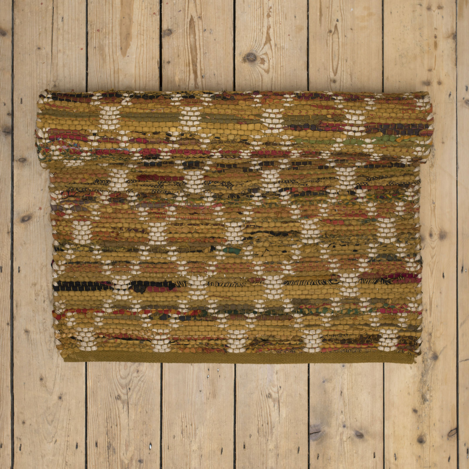 Mustard Diamond Patterned Cotton And Jute Large Rug