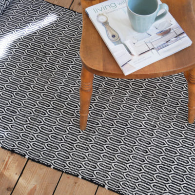 Black And White Patterned Washable Cotton Rug