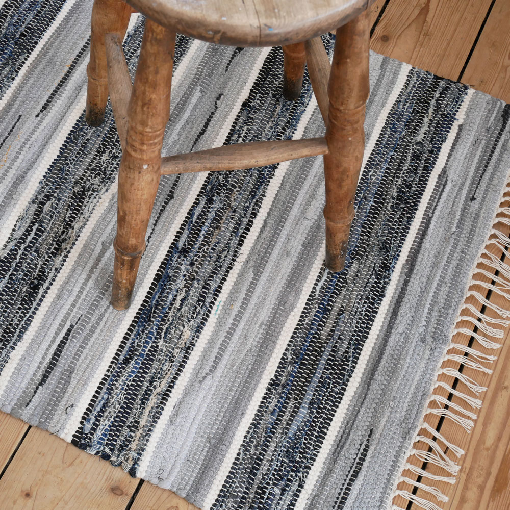 Blue And White Scandinavian Rug: Striped Blue Grey And White Cotton Floor Runner And Large