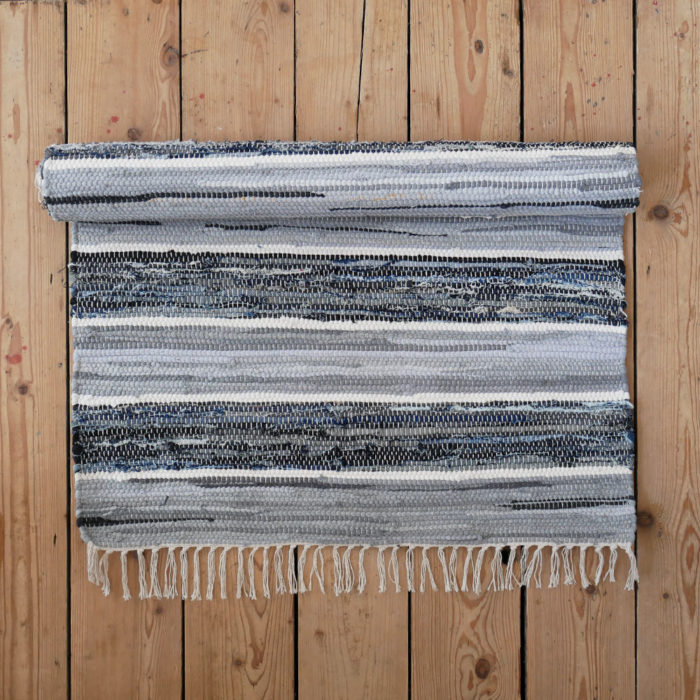 Striped Blue Grey And White Cotton Floor Runner And Large Rug