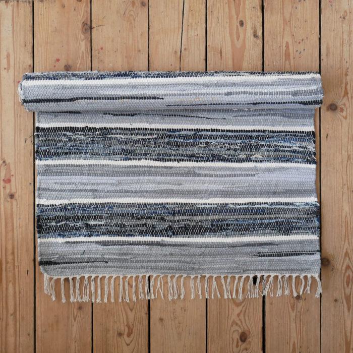 Striped Blue Grey And White Cotton Floor Runner Large Rug Skandihome