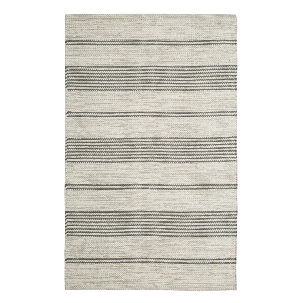 Striped Grey And Off White Cotton Floor Runner Skandihome