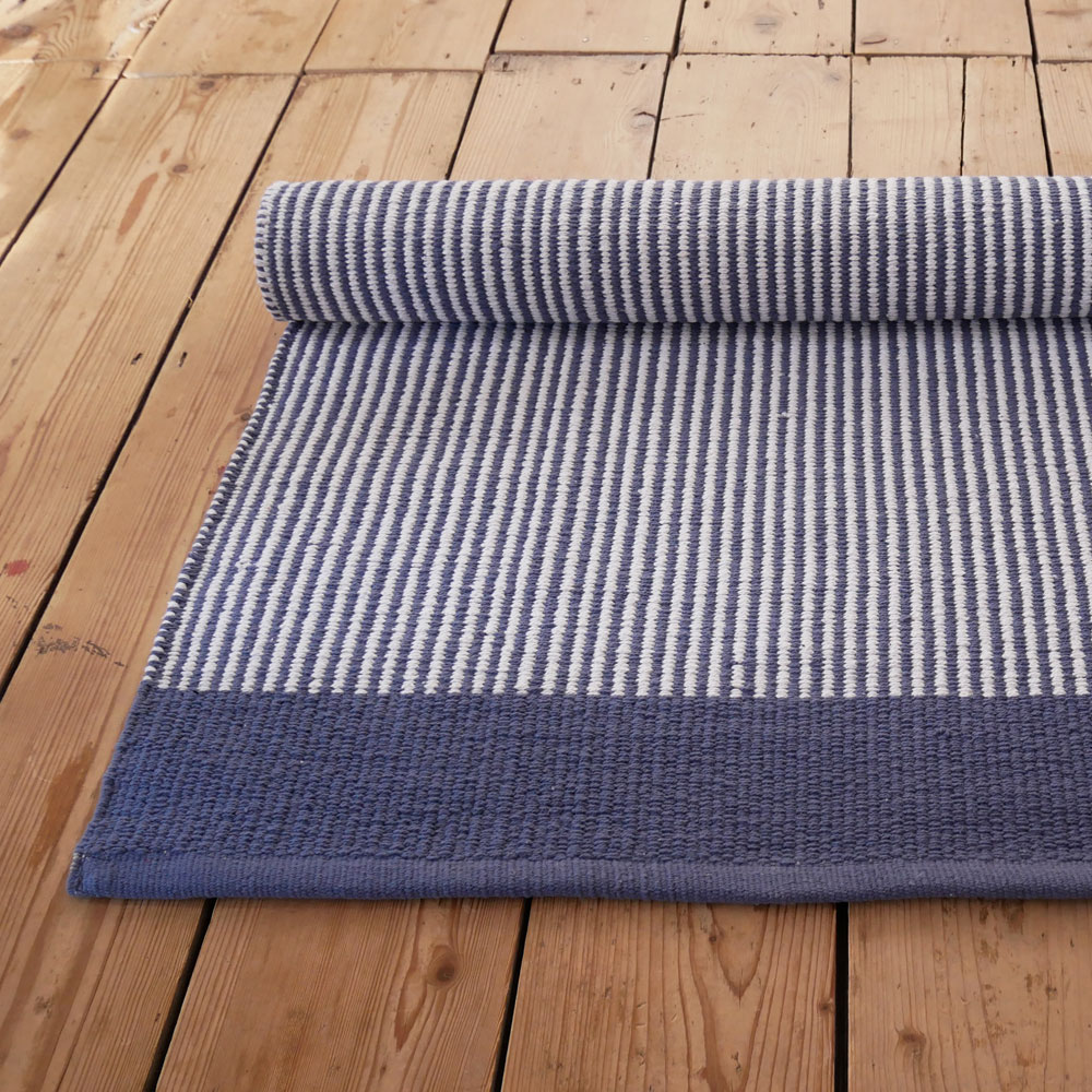 Astrid Striped Blue And White Floor Runner Skandihome