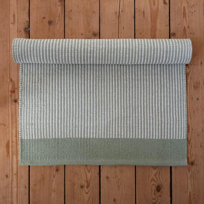Green And White Striped Floor Runner Skandihome