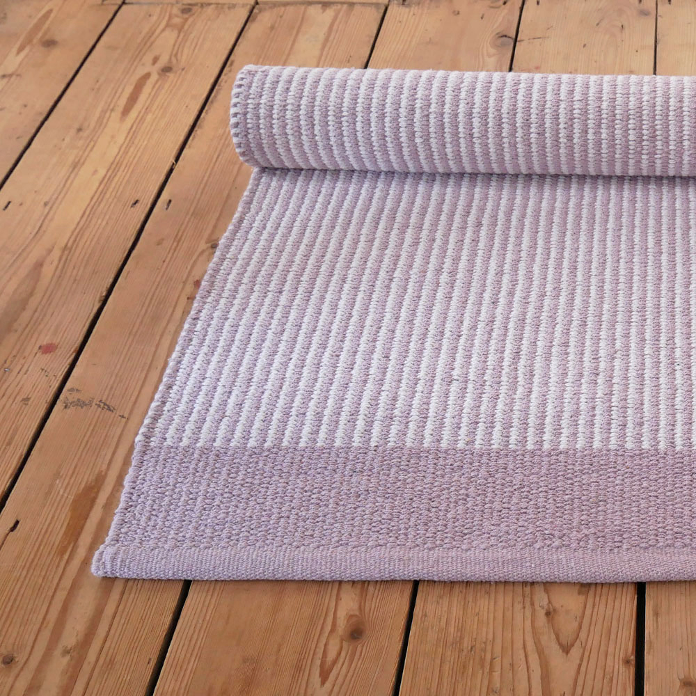 Pink And White Striped Floor Runner